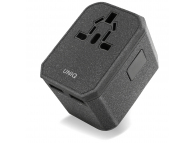 Adaptor priza UNIQ VoyagePD All in one, QC 3.0, 18W, EU - UK - USA - AUS, 2 x USB - USB Type-C, Gri, Blister