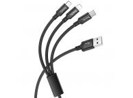 Cablu Incarcare USB - Lightning / USB Type-C / MicroUSB HOCO X14 Times, 1 m, Negru, Blister