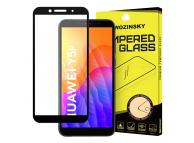 Folie Protectie Ecran WZK pentru Huawei Y5p, Sticla securizata, Full Face, Full Glue, Neagra, Blister