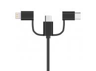 Cablu Date si Incarcare USB - Lightning / USB Type-C / MicroUSB OEM, 1 m, Negru, Bulk
