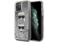 Husa TPU Karl Lagerfeld Glitter Karl & Choupette pentru Apple iPhone 11 Pro Max, Argintie, Blister KLHCN65KCGLSL