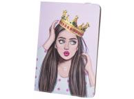 Husa Poliuretan GreenGo Lady&Crown pentru Tableta, 9 - 10 inci, Multicolor