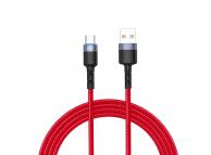Cablu Date si Incarcare USB la USB Type-C Tellur LED, 3A, 1.2 m, Rosu, Blister TLL155334