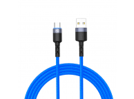 Cablu Date si Incarcare USB la USB Type-C Tellur LED, 3A, 1.2 m, Albastru, Blister TLL155344