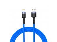 Cablu Date si Incarcare USB la Lightning Tellur LED, 3A, 1.2 m, Albastru, Blister TLL155364