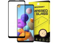 Folie Protectie Ecran WZK pentru Samsung Galaxy A21s, Sticla securizata, Full Face, Full Glue, Neagra