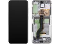 Display - Touchscreen Samsung Galaxy S20 Plus G985 / Samsung Galaxy S20 Plus 5G G986, Cu Rama, Alb GH82-22145B