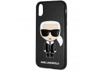 Husa TPU Karl Lagerfeld Ikonik pentru Apple iPhone X / Apple iPhone XS, Neagra, Blister KLHCPXIKPUBK