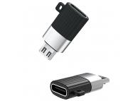 Adaptor Conversie USB Type-C la MicroUSB XO Design NB149-C, Negru, Blister