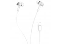 Handsfree Casti In-Ear HOCO M67 Passion, Cu microfon, USB Type-C, Alb