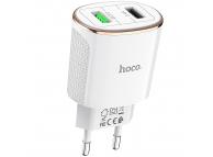 Incarcator Retea USB HOCO C60A, 2 X USB, QC 3.0, Alb, Blister
