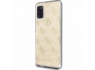 Husa Piele Guess 4G Stripe pentru Samsung Galaxy A41, Aurie, Blister GUHCA41PCU4GLGO