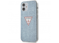 Husa Plastic - TPU Guess Denim Triangle pentru Apple iPhone 12 mini, Bleu GUHCP12SPCUJULLB