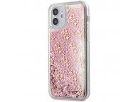 Husa Plastic - TPU Guess 4G Liquid Glitter pentru Apple iPhone 12 mini, Roz GUHCP12SLG4GSPG