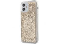 Husa Plastic - TPU Guess 4G Liquid Glitter pentru Apple iPhone 12 mini, Aurie GUHCP12SLG4GSLG