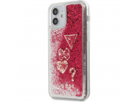 Husa TPU Guess Liquid Glitter Charms pentru Apple iPhone 12 mini, Rosie GUHCP12SGLHFLRA