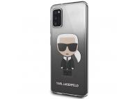 Husa TPU Karl Lagerfeld pentru Samsung Galaxy A41, Gradient Ikonik Karl, Neagra, Blister KLHCA41TRDFKBK