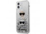 Husa TPU Karl Lagerfeld pentru Apple iPhone 12 Pro Max, Liquid Glitter 2 Heads, Argintie, Blister KLHCP12LKCGLSL
