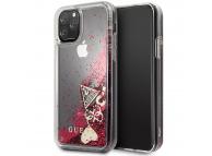 Husa TPU Guess pentru Apple iPhone 11 Pro Max, Glitter Hearts, Rosie GUHCN65GLHFLRA