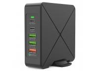 Incarcator Retea Statie USB OEM F88, 2 x USB Tip-C - 3 x USB, QC3.0, Negru, Blister