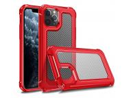Husa Plastic - TPU OEM Carbon Tough Armor pentru Apple iPhone 11 Pro Max, Rosie Transparenta, Bulk