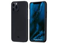 Husa Fibra Aramida Pitaka Air pentru Apple iPhone 12 Pro, Tesatura diagonala (Twill), Neagra Gri KI1201PA