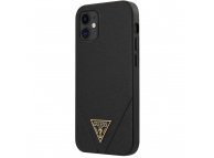 Husa TPU Guess Saffiano V Stitch pentru Apple iPhone 12 mini, Neagra, Blister GUHCP12SVSATMLBK