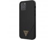 Husa TPU Guess Saffiano V Stitch pentru Apple iPhone 12 Pro Max, Neagra, Blister GUHCP12LVSATMLBK