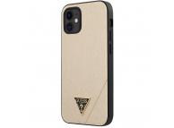 Husa TPU Guess Saffiano V Stitch pentru Apple iPhone 12 mini, Aurie, Blister GUHCP12SVSATMLLG