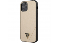 Husa TPU Guess Saffiano V Stitch pentru Apple iPhone 12 Pro Max, Aurie, Blister GUHCP12LVSATMLLG