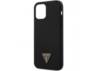Husa TPU Guess Metal Triangle pentru Apple iPhone 12 / Apple iPhone 12 Pro, Neagra, Blister GUHCP12MLSTMBK