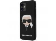 Husa TPU Karl Lagerfeld Head pentru Apple iPhone 12 mini, Neagra, Blister KLHCP12SSLKHBK