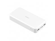 Baterie Externa Powerbank Xiaomi Redmi PB200LZM, 20000 mA, Standard Charge 5V - Quick Charge 2 - Quick Charge 3, 2 x USB, 18W, Alba, Blister