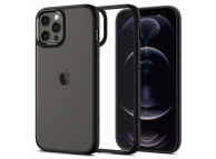Husa Plastic - TPU Spigen ULTRA HYBRID pentru Apple iPhone 12 / Apple iPhone 12 Pro, Neagra Transparenta, Blister ACS01703