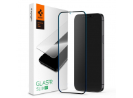 Folie Protectie Ecran Spigen Slim pentru Apple iPhone 12 mini, Sticla securizata, Full Face, Full Glue Neagra AGL01534