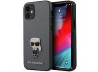 Husa TPU Karl Lagerfeld Saffiano Iconik pentru Apple iPhone 12 mini, Argintie KLHCP12SIKMSSL