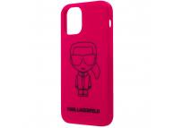 Husa TPU Karl Lagerfeld Iconic Outline pentru Apple iPhone 12 mini, Roz KLHCP12SSILFLPI
