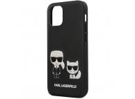 Husa Plastic - Piele Karl Lagerfeld pentru Apple iPhone 12 mini, Karl &Choupette, Neagra KLHCP12SPCUSKCBK