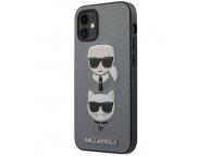 Husa Plastic - TPU Karl Lagerfeld Saffiano K&C Heads pentru Apple iPhone 12 mini, Argintie KLHCP12SSAKICKCSL