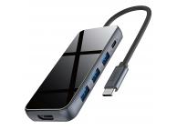 Hub USB Type-C HOCO HB15 Easy Show, 3xUSB 3.0 + HDMI + USB Type C PD, Gri, Blister