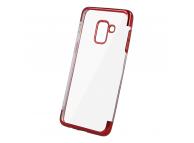 Husa TPU OEM Electro pentru Xiaomi Redmi 9, Rosie Transparenta, Bulk