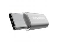 Adaptor Conversie MicroUSB la USB Type-C Borofone BV4, Argintiu