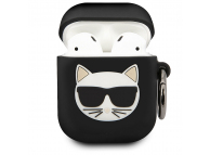 Husa Protectie Casti Karl Lagerfeld Choupette pentru Apple AirPods Gen 1 / Apple AirPods Gen 2, Neagra, Blister KLACA2SILCHBK