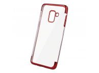 Husa TPU OEM Electro pentru Samsung Galaxy A41, Rosie Transparenta, Bulk