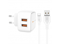 Incarcator Retea cu cablu USB Tip-C XO Design L61, 2 X USB, 2.4A, Alb, Blister