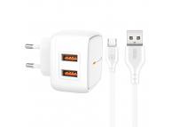 Incarcator Retea cu cablu MicroUSB XO Design L61, 2 X USB, 2.4A, Alb, Blister