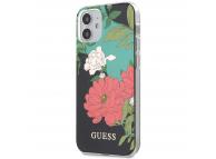 Husa Plastic - TPU Guess Flower Shiny N.1 pentru Apple iPhone 12 mini, Neagra GUHCP12SIMLFL01
