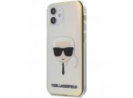 Husa Plastic - TPU Karl Lagerfeld Iridescente Head pentru Apple iPhone 12 mini, Transparenta Multicolor KLHCP12SPCKHML