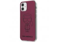 Husa TPU Karl Lagerfeld Metallic Iconic Outline pentru Apple iPhone 12 mini, Roz KLHCP12SPCUMIKPI