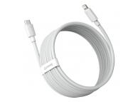 Cablu Date si Incarcare Type-C la Lightning Baseus, 1.5 m, 20W, (Set 2 Bucati), Alb, Blister TZCATLZJ-02